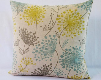 Floral Pillow Cover Gray Yellow Aqua Teal Botanical DecorativeThrow Oatmeal 16x16 18x18 20x20 22x22 12x14 12x16 12x18 12x20 14x22 Zipper