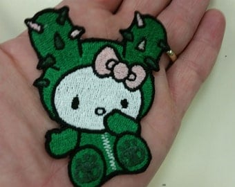 Kitty TokiDoki Embroidered Iron On Patch, Cactus Kitty Patch, TokiDoki Inspired Patch