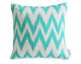 Turquoise Chevron Cushion Cover Zig Zag IKAT Throw Pillow Case COASTAL Home Decor