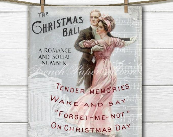 Instant Download Vintage Christmas, Christmas Dance, Christmas Couple, Romantic Christmas Printable