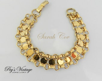 Gorgeous Unique Sarah Cov Vintage Bracelet/Gold Tone Linked Bracelet
