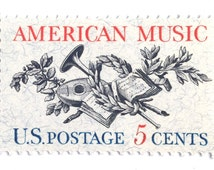 10 Vintage Music Postage Stamps // 1960s Vintage American Music Stamps for Mailing