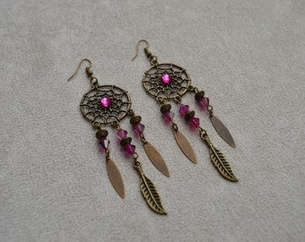 "Earrings ""dreamcatcher fuschia"" composed of routers in swarovski crystal"