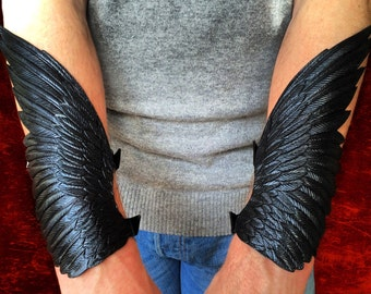 Raven wings - Crow wings - Pair of hand tooled leather winged cuff bracelets / bracers - Black leather wings with silver shading