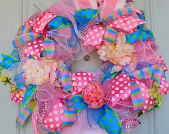 Deco Mesh Easter Bunny Wreath in Pink and Blue with Ears and Feet