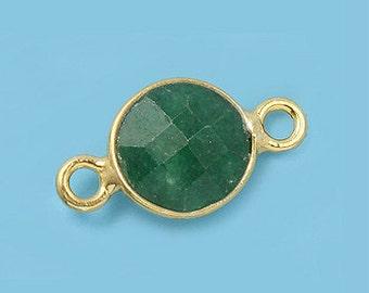 1 ea. Tiny 6mm Green Emerald and Vermeil Bezel Connecor Link Birthstone