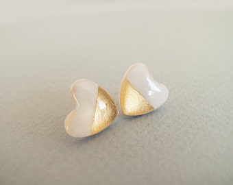 White Gold Heart Stud Earrings - Hypoallergenic Surgical Steel Post