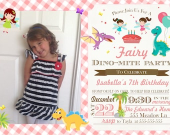 Digial Dinosaur and Fairy Party Invitation