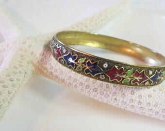 Vintage Enamel Cloisonne Bangle Bracelet Small Floral