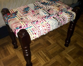 Repurposed Fabric Stool