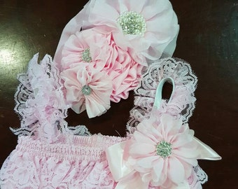 3 PIECES.  Baby Girl Gift Set.  All Sizes.  Pink Baby ROMPER.