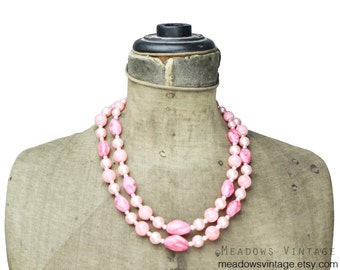 Vintage Pink Bead Necklace, Pink Double Strand Necklace, Pink Multi Strand Necklace, Chunky Pink Necklace, Vintage Pink Necklace