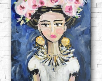 Frida Kahlo PRINT, roses, pretty, portrait, print on paper or canvas