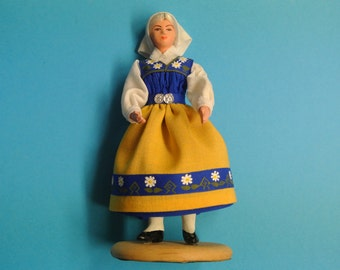 Small HANDMADE handpainted Swedish DOCKAN vintage 1980s souvenier doll in fabric Sweden dress