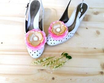 Shoe Clips, Golden-pink flowers, Silk Flower, Handwork , Golden flowers clips shoes, bride weddingAccessories for women , Shoe Accessories