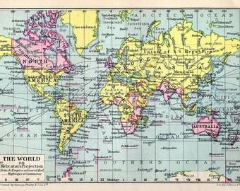 VINTAGE WORLD MAP chart