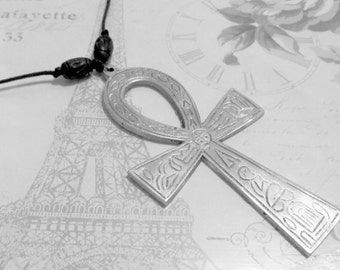 Giant Silver Ankh Necklace