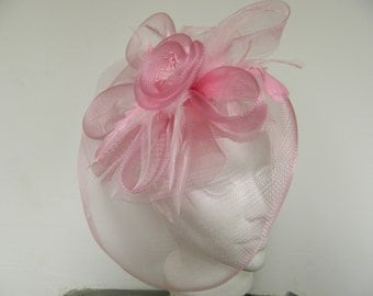 Vintage inspired pink tulle feather fascinator