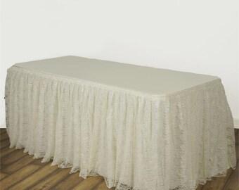 Lace Tablecloth, Ivory Lace Table Skirt, Vintage Tablecloth, Wedding Tablecloth, Lace Table Skirt, Party Decor, Bridal Shower Decor