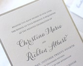 The Snowdrop Suite, Modern Letterpress Wedding Invitation Suite, Silver, Glitter, Champagne, White, Formal, Elegant, Calligraphy, Script