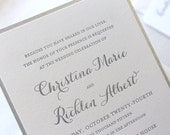 The Snowdrop Suite, Modern Letterpress Wedding Invitation Sample, Silver, Glitter, Champagne, White, Formal, Elegant, Calligraphy, Script