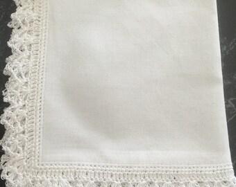 Plain white crocheted handkerchief