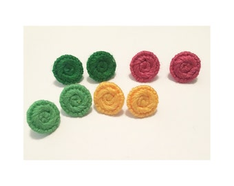 Spring Button Stud Earrings