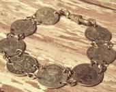 Antique British Silver Threepence Bracelet