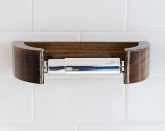 Walnut TP Holder - Modern Curve Toilet Paper Holder - Minimalist Bath Decor