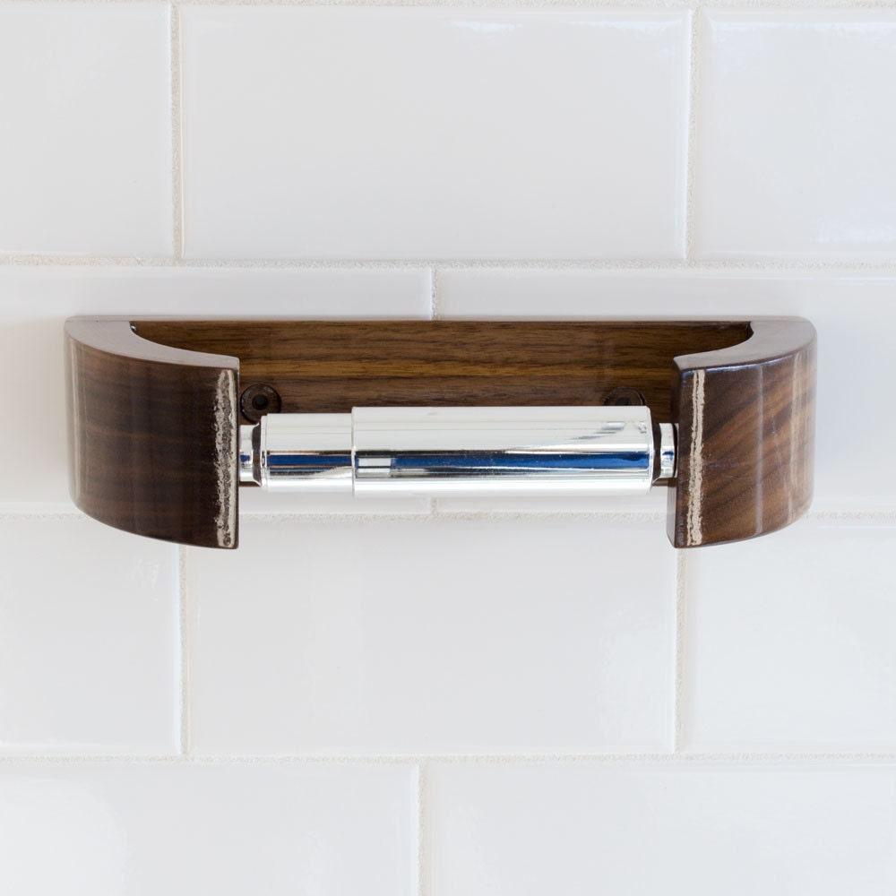 Walnut Tp Holder Modern Curve Toilet Paper Holder