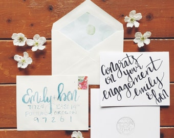 hand-lettered congrats on your engagement card