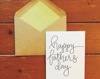 hand-lettered happy Father's Day card