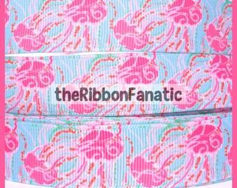 "5 yds 7/8"" Fabric Inspired Pink Aqua Orange Jellyfish Jellies Be Grosgrain Ribbon"