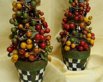 Whimsical Black and White  Check Table Top Fall Autumn Berry Topiaries Pair
