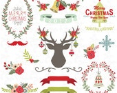 "Christmas clip art ""CHRISTMAS CLIPART""pack, Vintage Flowers, Christmas Deer, Christmas Ornament, Christmas Greeting, Christmas Wreaths CM032"