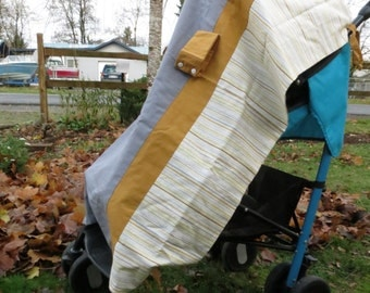STROLLER CARSEAT CANOPY Cover Blanket ties snaps modern mustard and grey prints