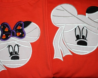 Mr. or Mrs. Mouse Mummy Halloween Shirt or Onesie for Infant, Toddler, Child, and Adult, Disney Halloween Shirts