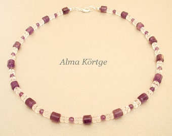 Chain necklace Amethyst rock crystal