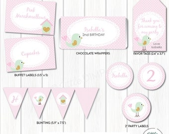 INSTANT DOWNLOAD Bird Party Decor in Pink, Mint and Gold Glitter - Add your own text - Favor Tags, Buffet Labels & more - Digital Printable