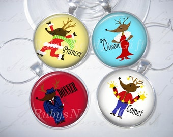 Christmas Wine Glass Charms, Pendant wine glass charms, Silver Plated Wineglass, Christmas Gift, Best friend gift, set of 4, Reindeer.