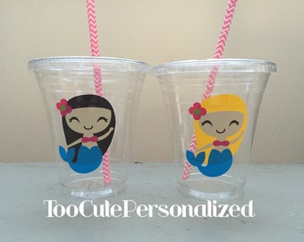 25 Plastic Mermaid Party Cups-12 oz