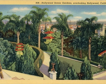 Hollywood Scenic Gardens Chinese Palace CaliforniaVintage Postcard 1941