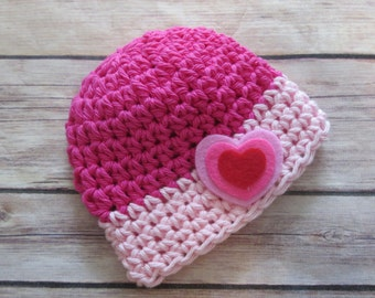 VALENTINE'S DAY Pink Hat, Baby Girl, Crochet Photo Prop, Preemie, Newborn, 0-3 mo, 3-6 mo, 6-12 mo, Baby Shower Gift, baby's 1st hat, hearts