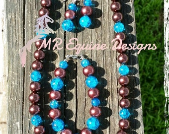 CLEARANCE ITEM - Chocolate, Turquoise Beaded Necklace with Matching Earrings and Bracelet