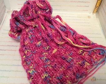 Anemone, Bag Top Hat, Convertible Cowl, Red Heart, Cherry Gumdrop, Hand Knit, Original Design, Beaded