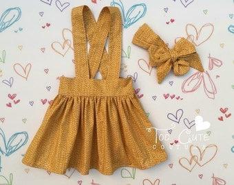 Mustard Fall Suspender Skirt & Headband Set