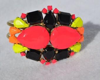 Hand Painted Vintage Neon Rhinestone Bracelet