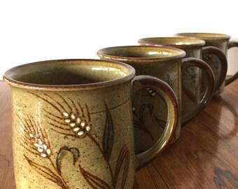 Retro Otagiri Wheat Sheaf Mug Set