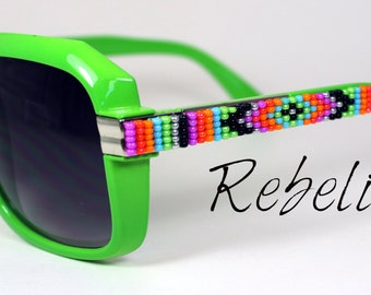 SALE Hand Beaded Sunglasses Neon Green Squares