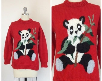 SUMMER SALE /// 70s Panda Sweater / 1970s Vintage Novelty Print Red Knit Cardigan / Medium - Large